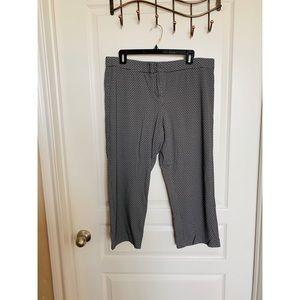 Cropped black and white work pants